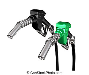One diesel and one gasoline pump nozzle - Isolated...