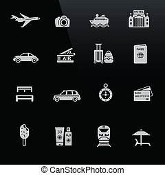 Travel icons white on black screen