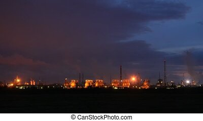 Phosphoric factory is shine by lanterns against the night...