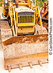 Caterpillar Tractor car  heavy yellow truck