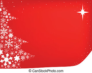 Red Red Christmas - Red background with snowflakes in the...