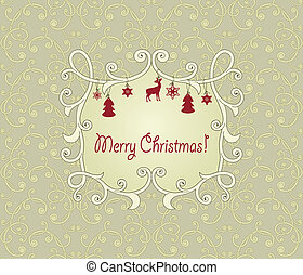 Vector Floral Seamless Pattern with Christmas Greetings -...