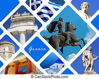 collage, arquitectura, histórico, lugares, grecia