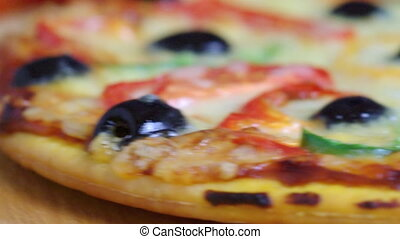 home pizza with tomato and eggplant