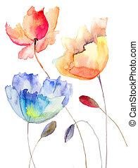 hermoso, verano, flores, acuarela, Ilustración