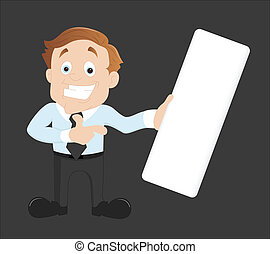Businessman with Blank Banner - Conceptual Artistic Creative...