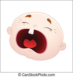 Crying Baby Face Vector - Abstract Conceptual Design Art of...