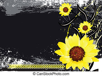 Bright Flowers on Dark Background - Conceptual Creative...