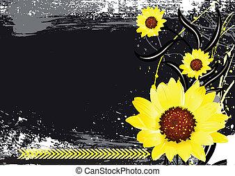 Bright Flowers on Dark Background - Conceptual Creative...