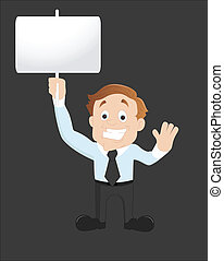 Businesman Showing Board - Abstract Conceptual Design Art of...