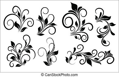 Flourish Swirls Vector Elements - Abstract Conceptual...