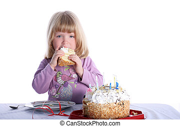 Girl with birthday cake isolated on white