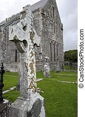 Celtic Cross near Corcomroe Abbey Ireland - Corcomroe Abbey...