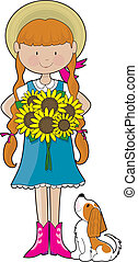 Sunflower Girl - Young girl dressed in counrty style...