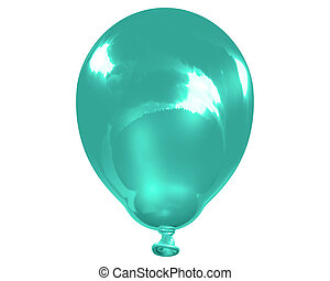Indigo balloon - 3d illustration of a single isolated...