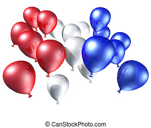 Red, white and blue balloons flying free towards the sky