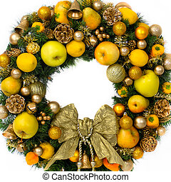 Holiday Wreath with Fruits and a Gold Bow