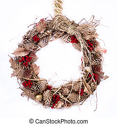 Holiday Twig Wreath with Raffia - A natural twig wreath is...