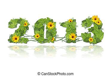 Novo, ano, 2013, data, alinhado, verde, folhas, flor