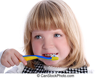 Little girl with toothbrush isolated on white