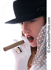 blonde posing in hat with vail, ring and cigar