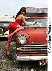 brunette washing retro car