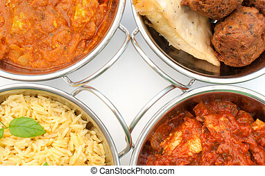 Curry dishes including chicken jalfrezi, tikka masala and...