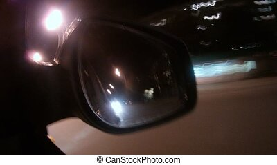 In mirror of automobile reflect of light of night city, time...
