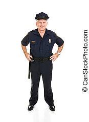 polícia, oficial, cheio, corporal, frente