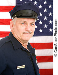 American Policeman - Handsome mature policeman in uniform,...