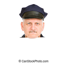 Police Head Angry - Isolated police head design element with...