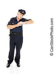 Policeman Leaning on White Space
