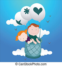 Kids in Hot Air Ballloon Vector