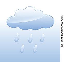 Rainy Cloud Vector - Creative Abstract Conceptual Design Art...