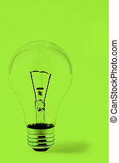 Bright Green Lightbulb - Lightbulb on a Green Background