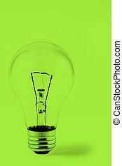 Bright Green Lightbulb - Lightbulb on a Green Background