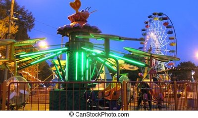 People ride in park on carousels including on observation wheel