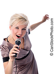 blonde with mic isolated in white