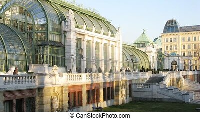 Palmenhaus stands in Hofburg Palace park - VIENNA - FEB 21:...