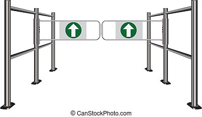 Double turnstile in the commercial zone. Vector...