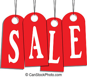 Sale word on labels - Word on the red tag sale. Vector...
