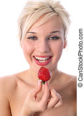 blonde with fresh strawberry