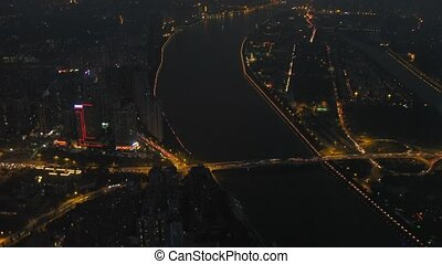 City and Pearl river are visible from viewing point TV tower...