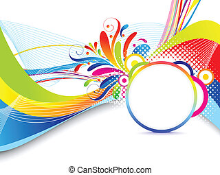 abstract colorful wave background with floral vector...