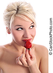 blonde isolated in white with fresh strawberry