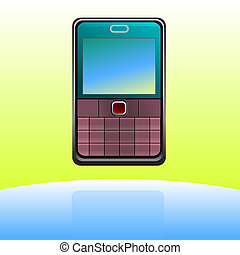 Cell phone icon with color background