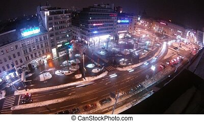 Cars goes on Mariahilfer Strasse in night