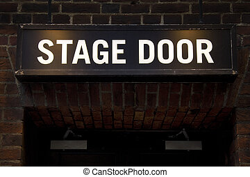 Stage Door - Illuminated sign at theatre in London's West...