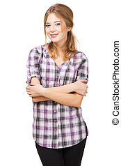 Beautiful lady in casual clothing studio photo