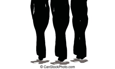 Silhouettes of three women-models of black colors go on white background